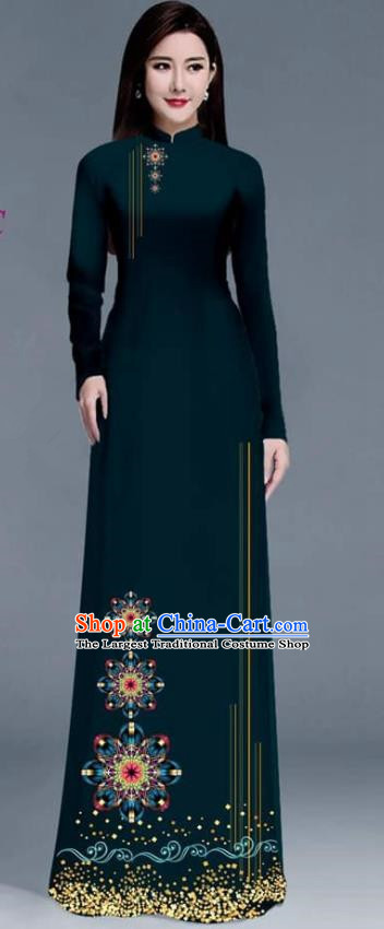 Asian Traditional Vietnam Ao Dai Costume Vietnamese Bride Peacock Green Cheongsam for Women