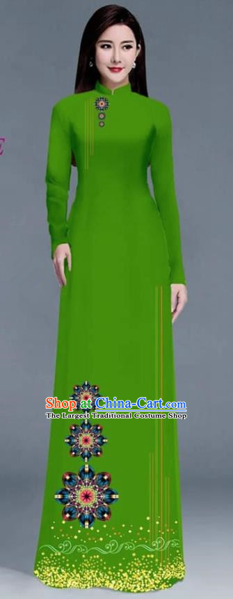 Asian Traditional Vietnam Ao Dai Costume Vietnamese Bride Green Cheongsam for Women