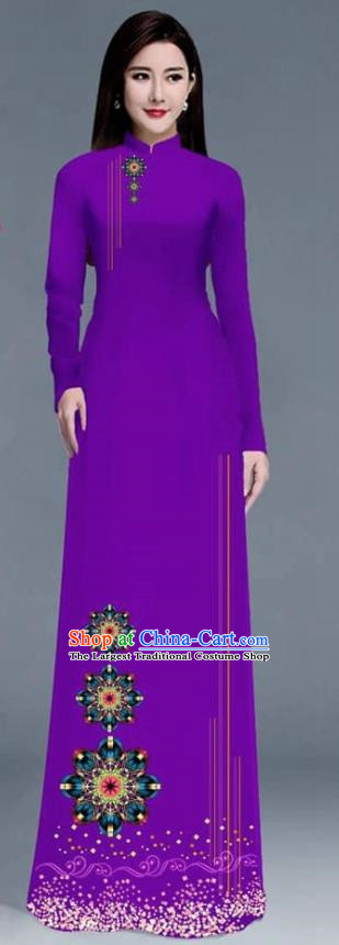 Asian Traditional Vietnam Ao Dai Costume Vietnamese Bride Purple Cheongsam for Women