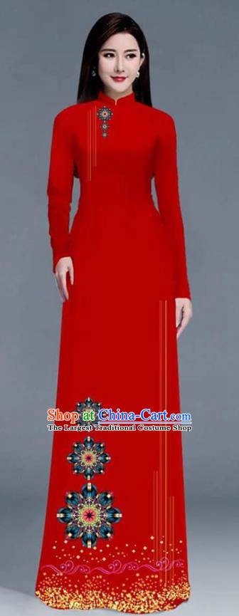 Asian Traditional Vietnam Ao Dai Costume Vietnamese Bride Red Cheongsam for Women