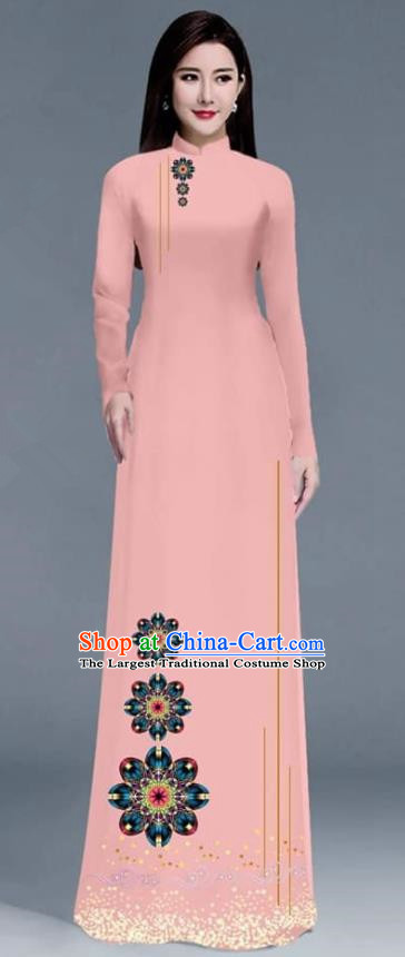 Asian Traditional Vietnam Ao Dai Costume Vietnamese Bride Pink Cheongsam for Women