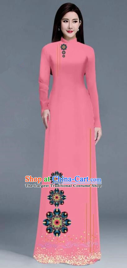 Asian Traditional Vietnam Ao Dai Costume Vietnamese Bride Rosy Cheongsam for Women