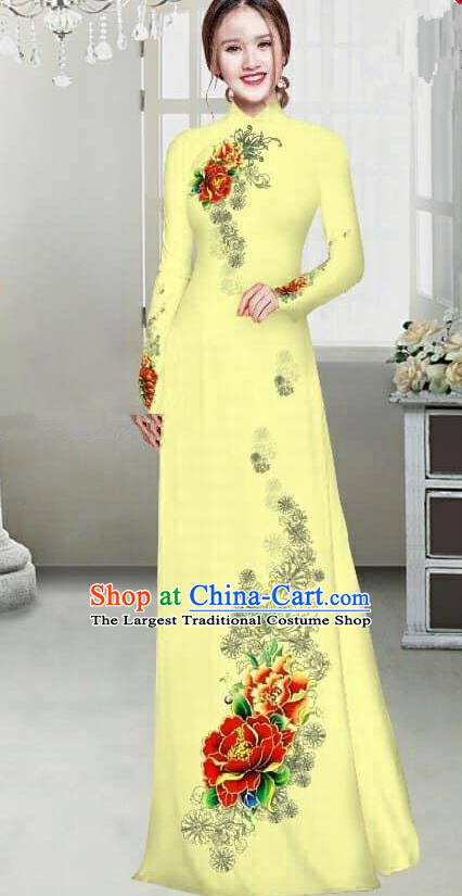 Asian Traditional Vietnam Female Ao Dai Costume Vietnamese Bride Printing Peony Yellow Cheongsam for Women