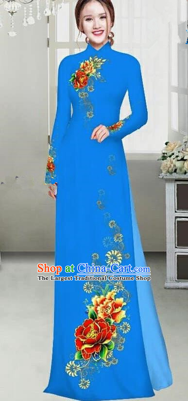 Asian Traditional Vietnam Female Ao Dai Costume Vietnamese Bride Printing Peony Blue Cheongsam for Women