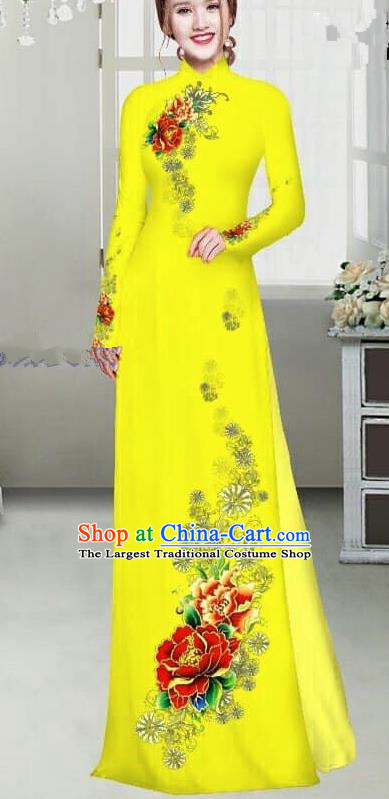 Asian Traditional Vietnam Female Ao Dai Costume Vietnamese Bride Printing Peony Bright Yellow Cheongsam for Women