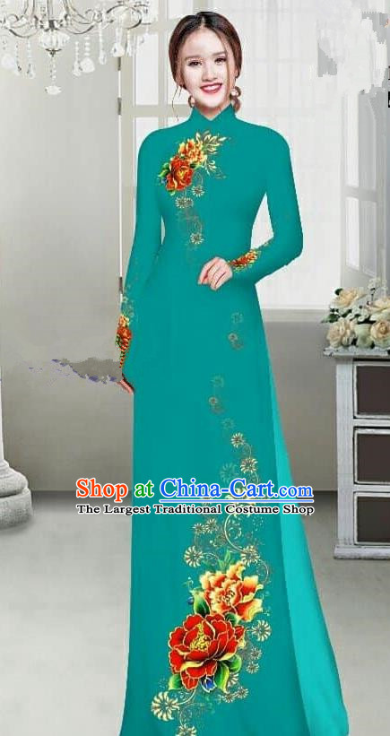Asian Traditional Vietnam Female Ao Dai Costume Vietnamese Bride Printing Peony Green Cheongsam for Women