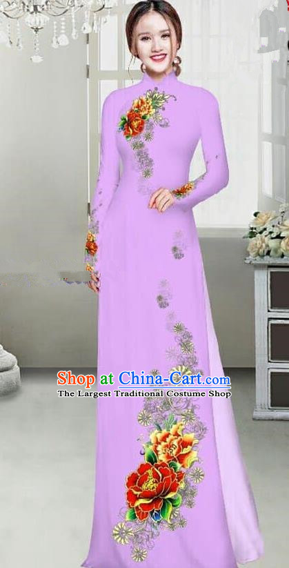 Asian Traditional Vietnam Female Ao Dai Costume Vietnamese Bride Printing Peony Lilac Cheongsam for Women