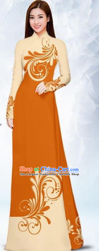 Asian Traditional Vietnam Female Costume Vietnamese Bride Orange Ao Dai Cheongsam for Women