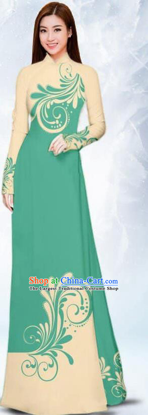 Asian Traditional Vietnam Female Costume Vietnamese Bride Green Ao Dai Cheongsam for Women