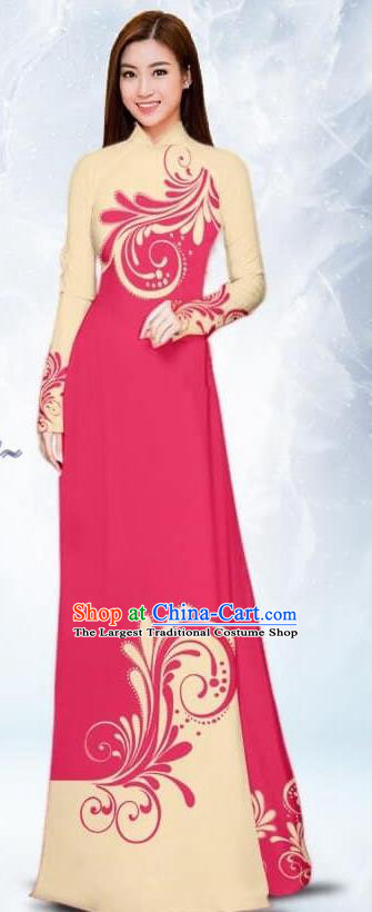 Asian Traditional Vietnam Female Costume Vietnamese Bride Rosy Ao Dai Cheongsam for Women