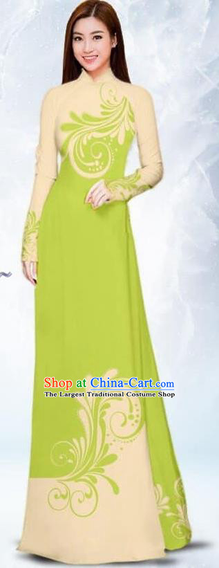 Asian Traditional Vietnam Female Costume Vietnamese Bride Light Green Ao Dai Cheongsam for Women