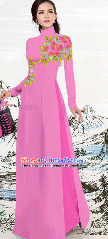 Asian Traditional Vietnam Female Costume Vietnamese Rosy Ao Dai Cheongsam for Women