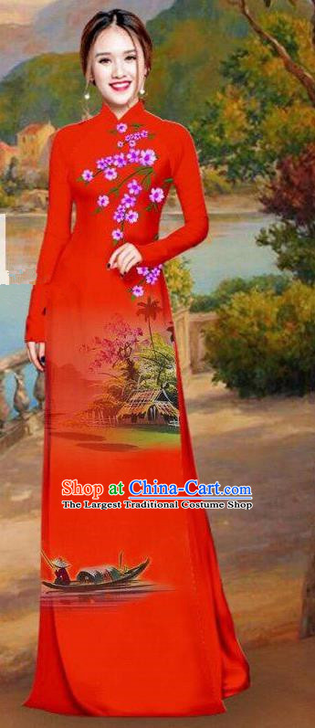 Asian Traditional Vietnam Bride Costume Vietnamese Printing Red Ao Dai Cheongsam for Women