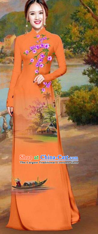 Asian Traditional Vietnam Bride Costume Vietnamese Printing Orange Ao Dai Cheongsam for Women