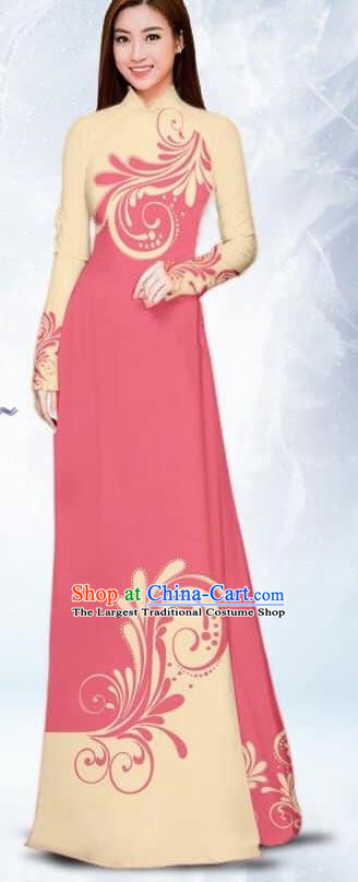 Asian Traditional Vietnam Female Costume Vietnamese Bride Pink Ao Dai Cheongsam for Women