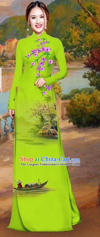 Asian Traditional Vietnam Bride Costume Vietnamese Printing Green Ao Dai Cheongsam for Women
