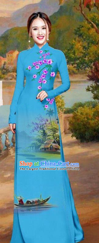 Asian Traditional Vietnam Bride Costume Vietnamese Printing Blue Ao Dai Cheongsam for Women