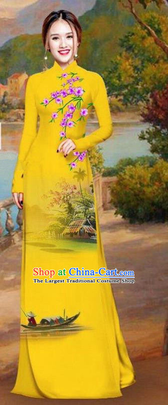 Asian Traditional Vietnam Bride Costume Vietnamese Printing Ginger Ao Dai Cheongsam for Women