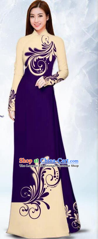 Asian Traditional Vietnam Female Costume Vietnamese Bride Purple Ao Dai Cheongsam for Women