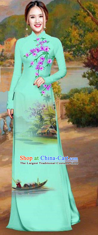 Asian Traditional Vietnam Bride Costume Vietnamese Printing Light Green Ao Dai Cheongsam for Women