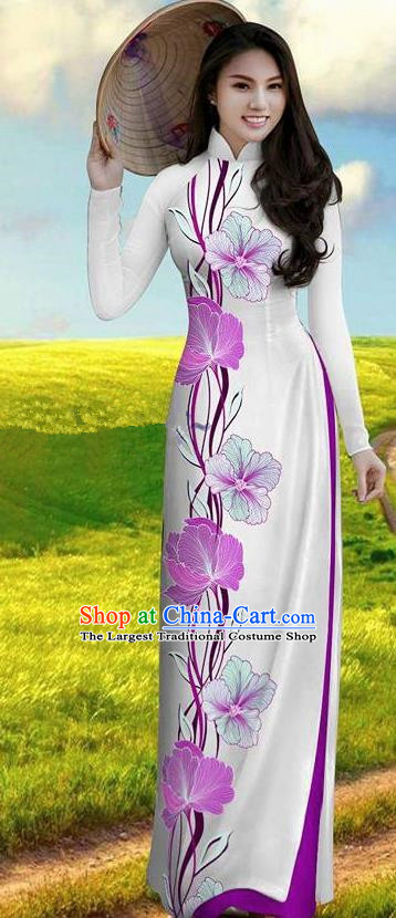 Vietnam Traditional Bride Costume Lilac Ao Dai Qipao Dress Vietnamese Printing Morning Glory Cheongsam for Women