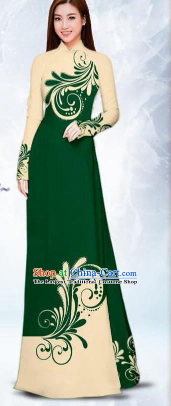 Asian Traditional Vietnam Female Costume Vietnamese Bride Atrovirens Ao Dai Cheongsam for Women