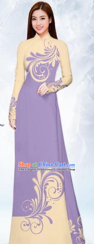 Asian Traditional Vietnam Female Costume Vietnamese Bride Lilac Ao Dai Cheongsam for Women