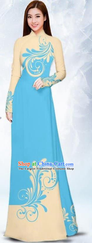 Asian Traditional Vietnam Female Costume Vietnamese Bride Light Blue Ao Dai Cheongsam for Women