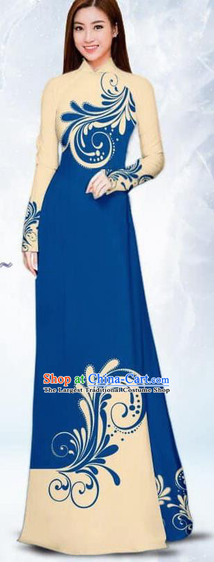 Asian Traditional Vietnam Female Costume Vietnamese Bride Deep Blue Ao Dai Cheongsam for Women