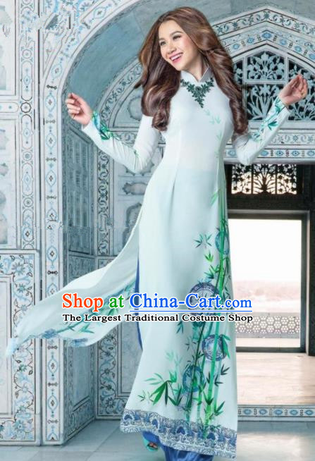 Asian Traditional Vietnam Female Costume Vietnamese Bride Printing Bamboo Ao Dai Cheongsam for Women