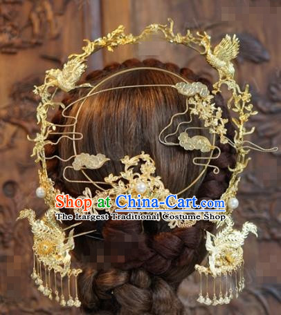 Chinese Ancient Wedding Hair Jewelry Accessories Queen Phoenix Coronet Tassel Hairpins Hair Stick for Women