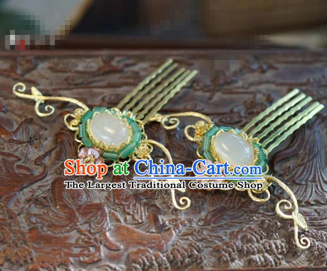 Chinese Ancient Wedding Hair Jewelry Accessories Queen Jade Hair Comb Hairpins for Women