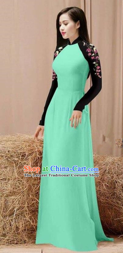 Vietnam Traditional Costume Green Ao Dai Qipao Dress Vietnamese Cheongsam for Women