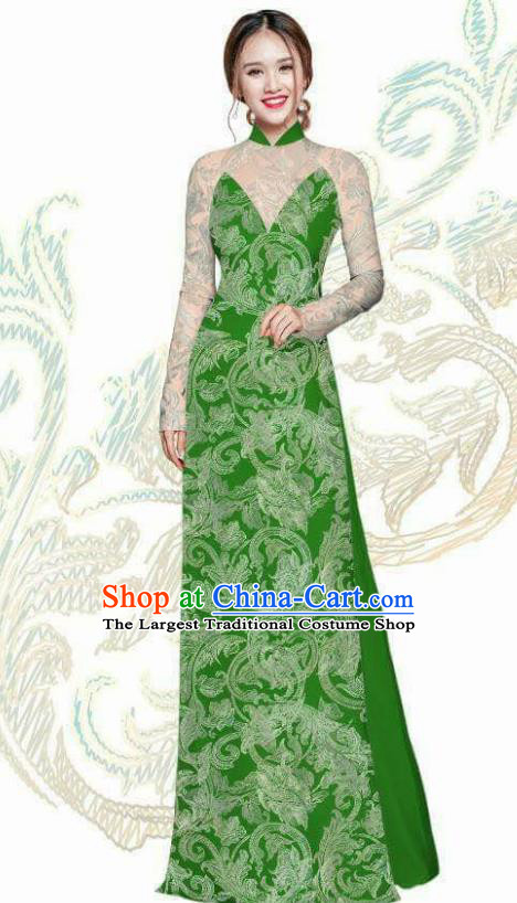 Vietnam Traditional Bride Costume Vietnamese Green Ao Dai Qipao Dress Cheongsam for Women
