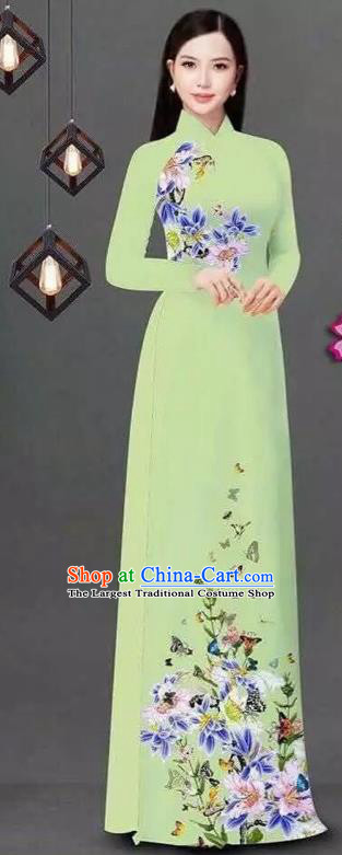 Vietnam Traditional Bride Costume Vietnamese Printing Flowers Green Ao Dai Qipao Dress Cheongsam for Women