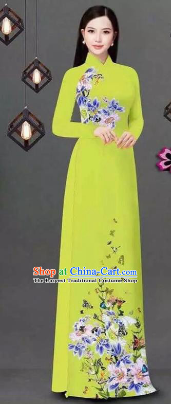 Vietnam Traditional Bride Costume Vietnamese Printing Flowers Yellow Ao Dai Qipao Dress Cheongsam for Women