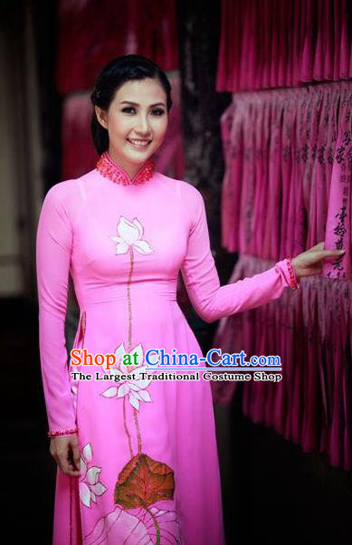 Vietnam Traditional Bride Costume Vietnamese Printing Lotus Ao Dai Qipao Dress Cheongsam for Women