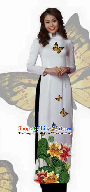 Vietnam Traditional Bride Costume Vietnamese Printing Lotus White Ao Dai Qipao Dress Cheongsam for Women