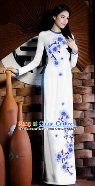 Vietnam Traditional Bride Costume Vietnamese Printing Plum Blossom White Ao Dai Qipao Dress Cheongsam for Women