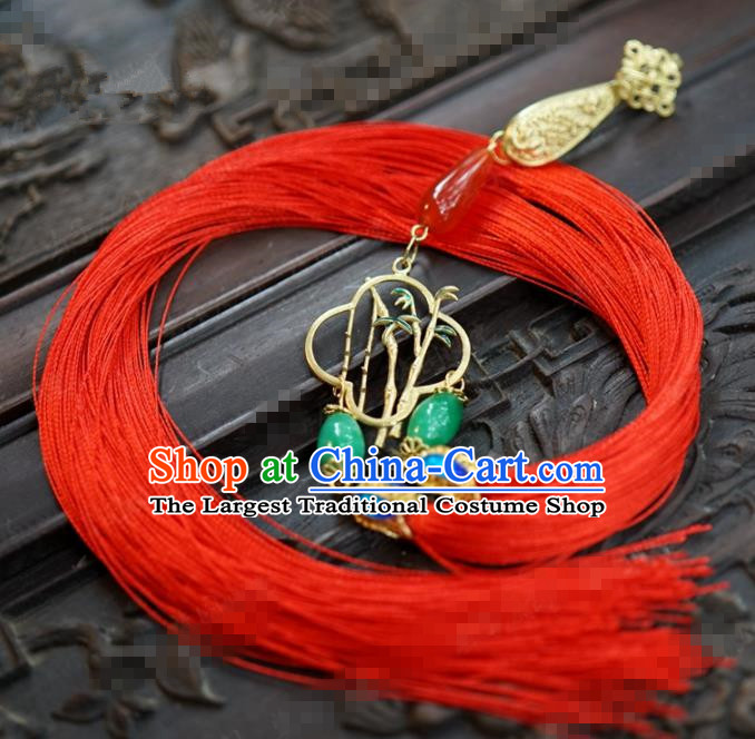 Chinese Traditional Palace Red Tassel Brooch Ancient Bride Hanfu Breastpin Jewelry Accessories for Women
