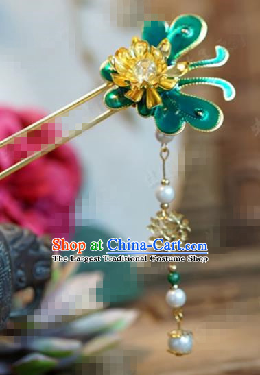 Chinese Ancient Wedding Hair Jewelry Accessories Palace Green Butterfly Hairpins for Women