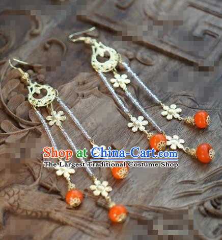 Chinese Traditional Palace Flowers Tassel Earrings Ancient Bride Hanfu Jewelry Accessories for Women
