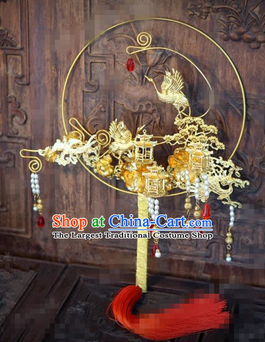 Chinese Traditional Wedding Hanfu Palace Fans Ancient Bride Jewelry Accessories for Women