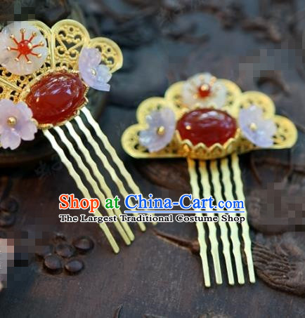 Chinese Ancient Bride Hair Accessories Wedding Palace Agate Hair Comb Hairpins for Women