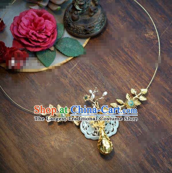 Chinese Traditional Wedding Hanfu Jade Necklace Ancient Bride Palace Jewelry Accessories for Women