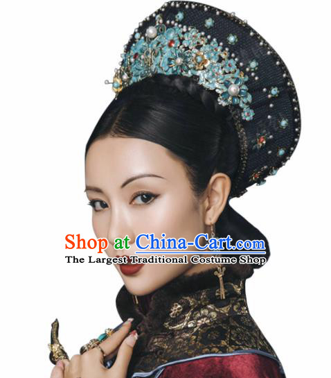 Chinese Ancient Qing Dynasty Queen Hat Wedding Bride Headdress for Women