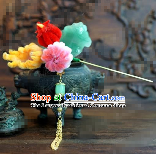Chinese Ancient Qing Dynasty Empress Hair Clip Palace Bergamot Flowers Hairpins for Women
