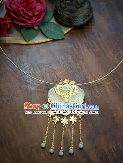 Chinese Traditional Wedding Hanfu Golden Tassel Jade Necklace Ancient Bride Palace Jewelry Accessories for Women