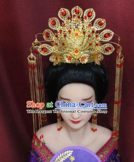 Chinese Ancient Imperial Consort Phoenix Coronet Headdress Tang Dynasty Palace Wedding Hairpins Complete Set for Women