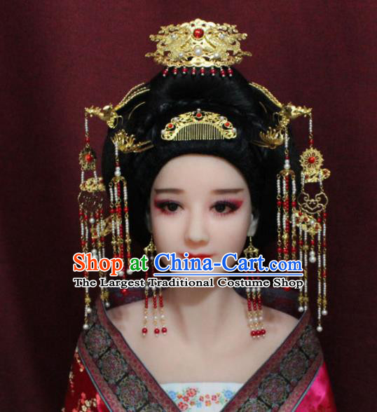 Chinese Ancient Tang Dynasty Queen Hair Accessories Empress Phoenix Coronet Hairpins Complete Set for Women